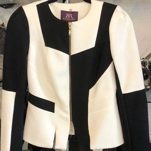 RACHEL ROY Black & Cream Color Block Blazer/Jacket